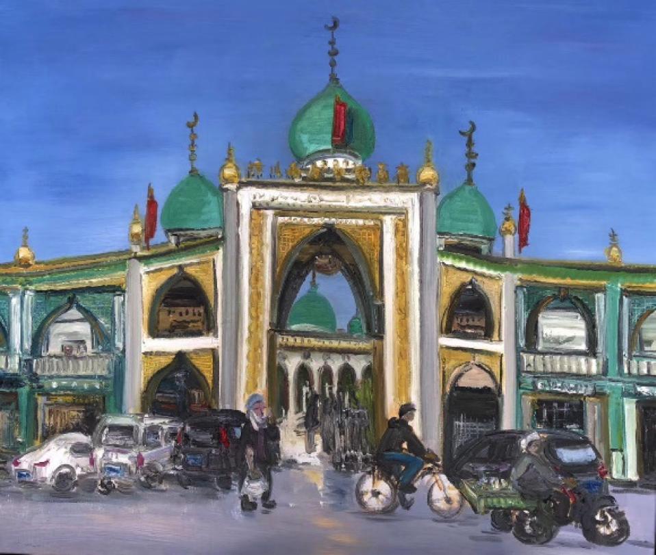 Zhou Qing, The Nanguan Mosque, 2020, oil painting.