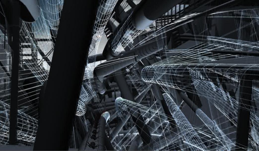 still of the interior world inside the scaffolding