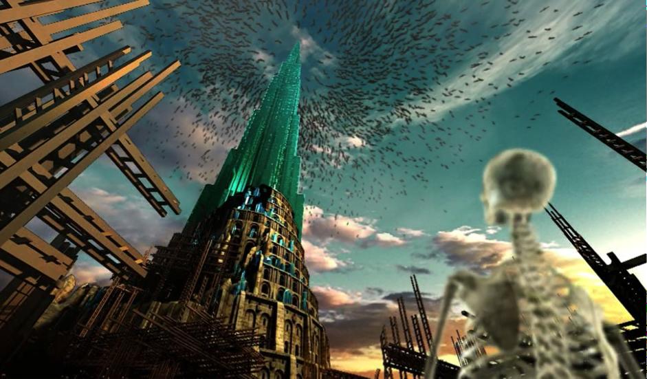 still of bats flying towards the skyscraper